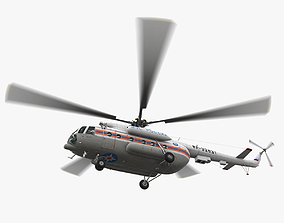 3D model Mi-8MTV Russian Emercom Animated