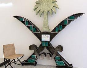 Saudi logo as book rack 3D asset