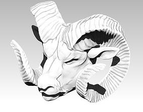 Danger Angry Ram Head Animal Horn Bust 3D printable model