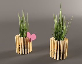3D model Plant in pot from clothespins