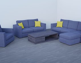 Sofa and Coffee Table Collection 3D asset realtime