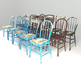 3D Collection of Wooden Windsor Chairs