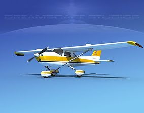 3D model animated Cessna 172 Skyhawk STOL V09