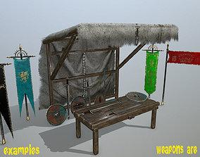 3D model market bench