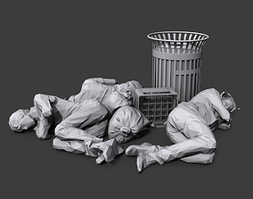 Sleeping Bums 3D asset