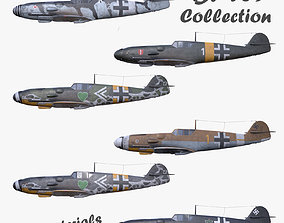 Collection 3D model BF-109 German fighter PBR game-ready 1