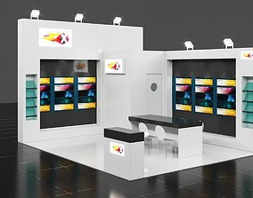 6M x 5M 2 Side Open Exhibition Stall Corona 3D model 3