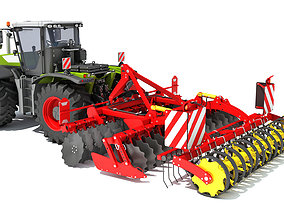 3D Tractor with Disc Harrow harvester