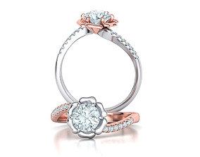 Flower Engagement ring 1CT stone 3dmodel