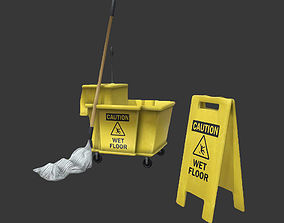Mop Bucket Game Ready 3D asset