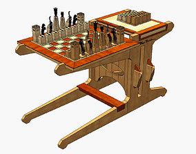 Wooden chess set 3D asset