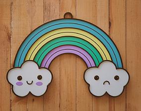 Cute Clouds Rainbow Keychain 3D print model