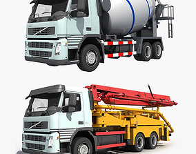 3D model Collection Cement Mixer Concrete pumper