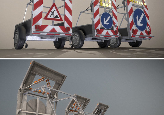 Moveable Road Barriers (Rigged and Animated)