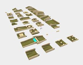 Low Poly Modular Mini Golf Pieces 3D asset