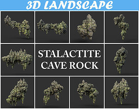 3D model Low poly Stalactite Cave Rock Modular Pack 200215