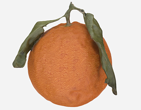Orange with leaves 3d model VR / AR ready