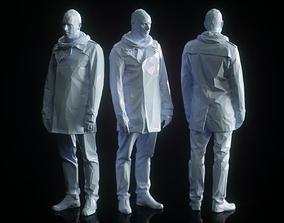 Resting Male in Coat Low Poly 3D model