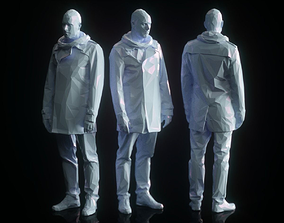 Resting Male in Coat Low Poly 3D model