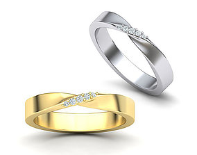 Mobius Wedding Ring with Stones 3dmodel wedding-band
