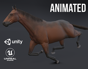 3D asset animated low-poly Horse