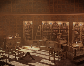 low-poly Medieval Library Model Pack Antique