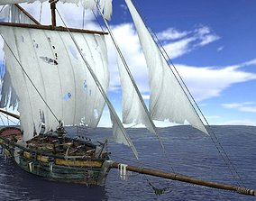 Sloop sailing ship pack 3D asset