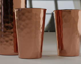 Hammered Copper Water Bottle and Cups 3D