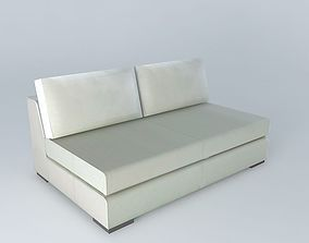 TERENCE white leather fireside 2p 3D