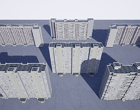 Pack of 6 Russian Panel Apartment Buildings 3D model
