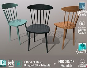 PBR Various Options Wooden Chairs Design - 3D model 2