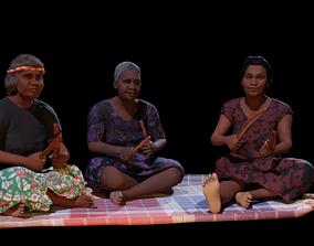Aboriginal Women Sitting On Rug 3D model