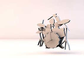 3D print model Clock jazz drummer