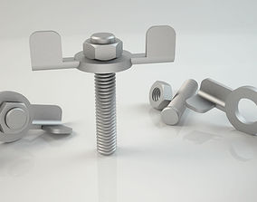3d Bolt and Nut model 002 Original Sizes Clear Model 3D