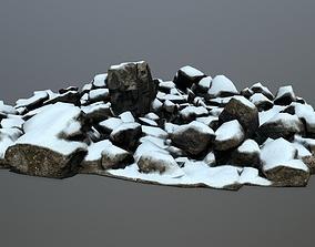 snow rocks 3D model realtime