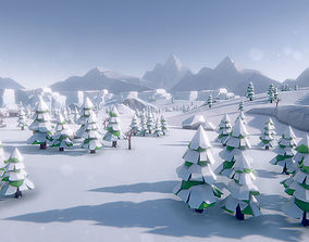 3D asset Lowpoly Arctic Winter Tundra Environment Pack
