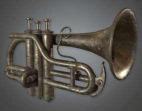3D asset Old Rusty Trumpet Antiques - PBR Game Ready
