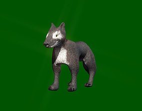 Low poly wolf 3D asset