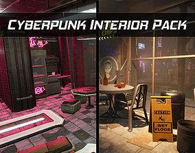 Cyberpunk Sushi Pizza Restaurant Interior Pack 3D model