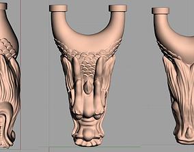 CNC Wood Carving Model Dragon Head Slingshot 3D