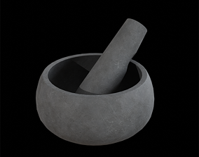 Mortar and Pestle concrete grey 3D model