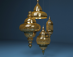 3D model Moroccan Hanging Lamp Collection - Gold Finish