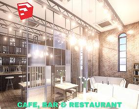 Intimate Cafe - Bar - Restaurant Scene - SketchUp 3D model
