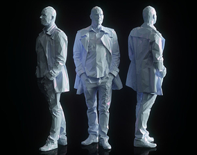 3D model Man in Coat Posed Low Poly