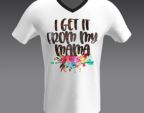 3D model White T-Shirt Special for mama With Flower Print