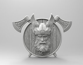 3D print model Odin with wings and axes Scandinavian