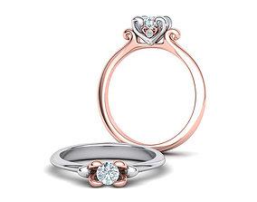 Own Design Heart Paradise Engagement ring 3D print model 2