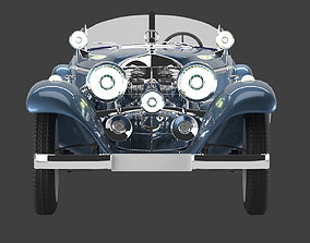 Mercedes 1938 540k blueprint with open top 3D