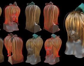 3D asset Rigged Hair