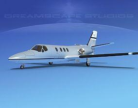 3D model rigged Cessna 500 Citation I V07
